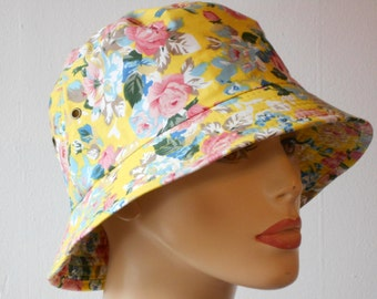 Bucket Hats Yellow with Pink Small Flowers Sun Hat Chemo Hat