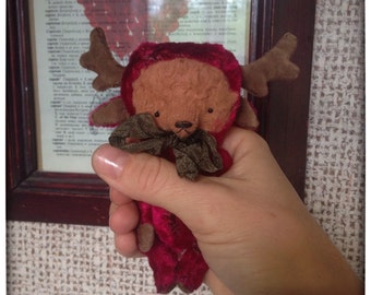 4 inch Artist Handmade Miniature Pocket Sized Teddy Bear in Moose's suit by Sasha Pokrass