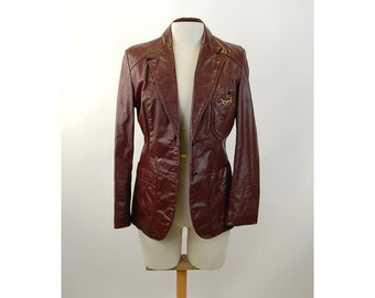 Etienne Aigner oxblood leather blazer fitted jacket Size M
