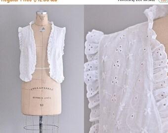 vintage 1960s eyelet lace blouse • white eyelet vest • vintage boho vest