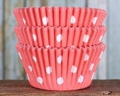 Coral Polka Dot Cupcake Liners, BakeBright Cupcake Liners, Coral Cupcake Liners, Coral Baking Cups, Cupcake Cases, Cupcake Wrappers (60)