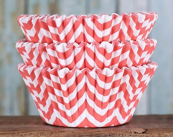 Coral Chevron Cupcake Liners, BakeBright Cupcake Liners, Coral Cupcake Liners, Coral Baking Cups, Cupcake Cases, Cupcake Wrappers (60)