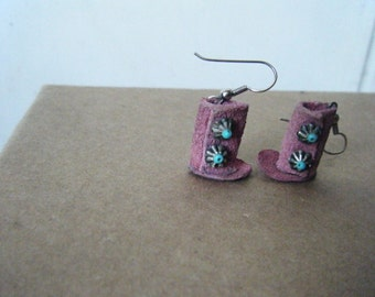 Vintage Tribal Suede Moccasin Dangle Earrings Concha Concho Trim