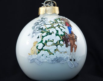 Hand Painted Ornament-Cowboy Decorating Tree- Item 2000