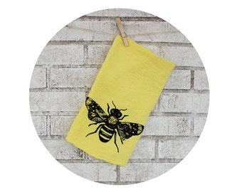 Bee With Lace Wings Cotton Tea Towel In Yellow With Black Ink Kitchen Decor