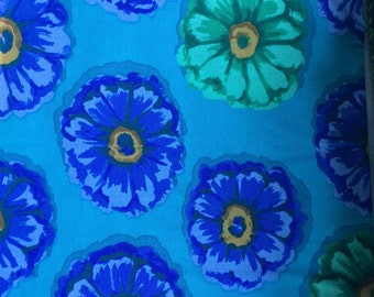 Kaffe Fassett Zinnia, blue, OOP, rare, vhtf, by the half yard, floral fabric, early Westminster