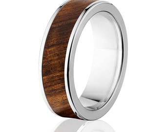 New Tamboti Wood Rings, Exotic Hard Wood Wedding Band w/ Comfort Fit: 7F_Tamboti Wood