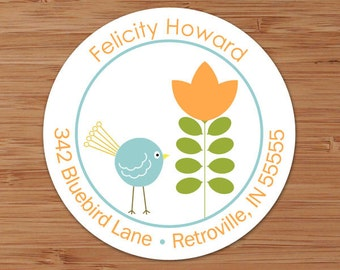Felicity (Chick and Retro Tree) Custom Personalized Address Labels or Stickers