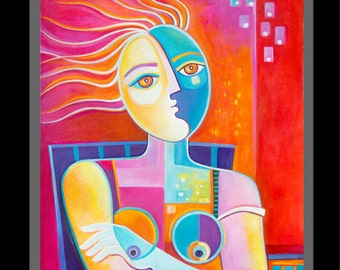 Modern Abstract Art Original Cubist Oil Painting on canvas Enlightened Woman by Marlina Vera Gallery Artwork Picasso Style fauve Pop Artwork