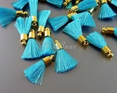 4 cool sky blue color small 18mm short tassels, ideal for hair accessories, earrings, necklace 2049G-SB