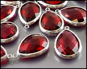 2 pink ruby raspberry red color large teardrop shape glass crystal pendant, drop earrings pendant 5137R-RU