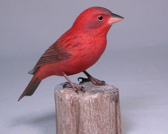 Red Bronze Canary Hand Carved Wooden Bird Carving