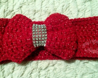 Red Crochet Bow Headwrap - holiday, sparkle, bow, red, crochet, toddler, baby, headband, winter, gift