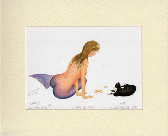"""Mermaid Dolly & the Ship's Cat Art Signed Robert Kline 8"""" x 10"""" Matted Print Beach House Nautical Home Cottage Chic Wall Decor Feline Gift"""