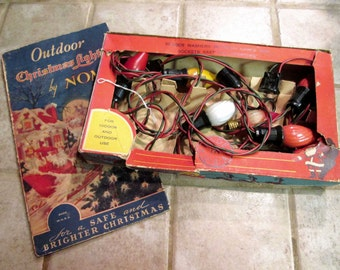 NOMA Vintage String of 7 Multi Color Bakelite Plugs and Sockets Retro Christmas Indoor/ Outdoor Lights in Box