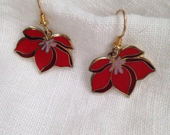 Laurel Burch Pear Blossom Red Cloisonne Earrings