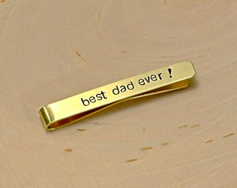 Brass Tie Bar for the Best Dad Ever with Mirror Finish - TB440