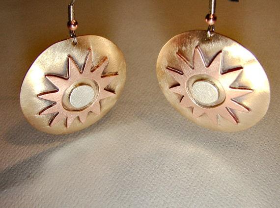 Shining sun artisan dangle earrings in bronze copper and sterling silver - ER621 -