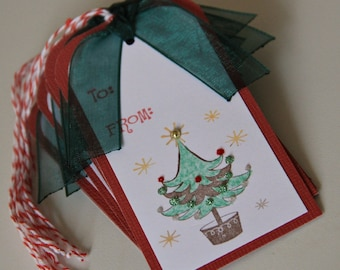 Merry Christmas Tags with Christmas Tree, To From Christmas Tags with ribbon, Christmas Tree Gift Tags, Christmas Hang Tags (CGT1501)