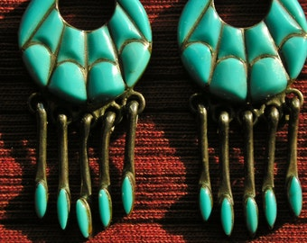 Southwest Sterling Silver Turquoise Inlay Dangle Earrings