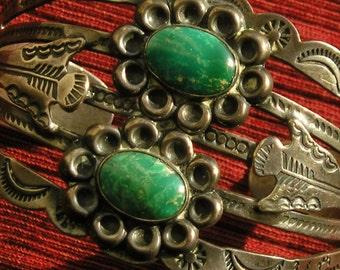 Wide Harvey Era Sterling Silver Turquoise Cuff Bracelet