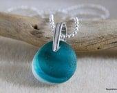 Delightful Aqua Sea Glass, Sterling Silver Bail, Wavy, Ocean, Beachy Sea Glass, Seyshelles Jewelry
