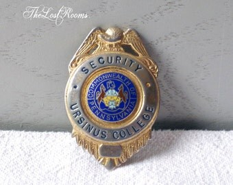 Vintage Security Badge - Official Metal Badge - College Security Officer Badge - Blackinton enamel badge