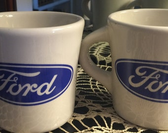 FORD Mugs Vintage Heavy Mug Old Stock Never Used Pair Diner Mug Free Shipping