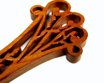 Letter Opener / Ornate Leaf Design / Cherry Hardwood
