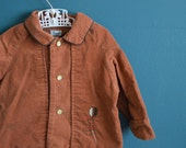 Vintage 1960s Baby's Brown Corduroy Jacket with Embroidered Trumpet Player - Size 3-6 Months