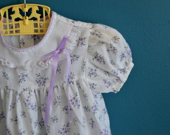 Vintage Baby Girl's Purple and White Dress and Jacket Set - Size 12 Months