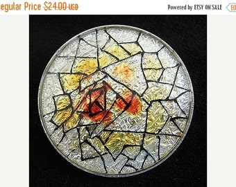 Mothers Day SALE 1950s Mid Century ABSTRACT Enamel foil Vintage Brooch