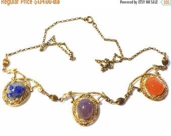Valentines Lovers SALE Beautiful Art Deco Scarab Art Glass Hieroglyphic Ornate Gold Filigree Vintage Necklace