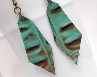 Boho chic turquoise and copper leather earrings