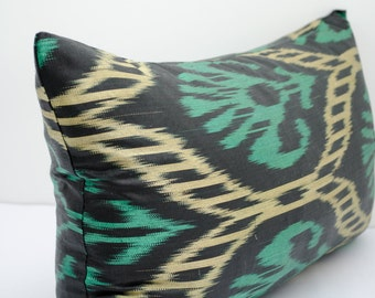 20x12 lumbar teal cream long ikat pillow cover, ikat pillow case, ikat lumbar size, teal ikat, teal pillows
