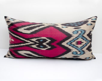 20x12 lumbar red blue beige long ikat pillow cover, ikat pillow case, ikat lumbar size, red, blue black. ikat, red pillows
