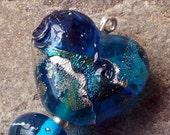 Aqua & Silver Lampwork Heart Bead Set SRA UK