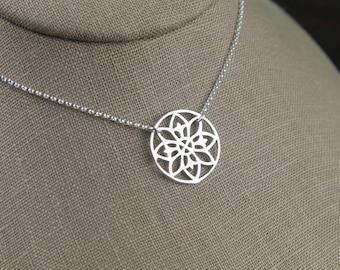 Mandala pendant necklace in sterling silver, geometric, mystical, bohemian, mandalla, yoga inspired, flower