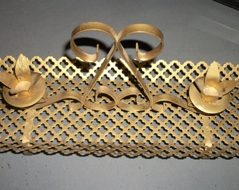 Vintage Black or Gold Iron Scrollwork Candle Holder Tabletop