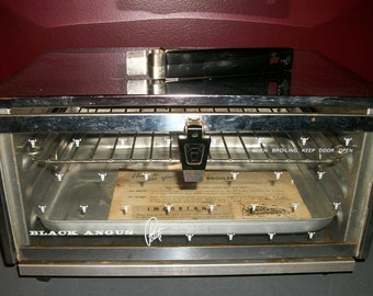 Vintage Toaster Broiler Oven Black Angus Petite