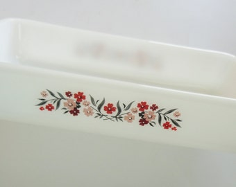 1.5 Quart Vintage Fire King Rectangular Red Pink Primrose Casserole Dish - Retro Milk Glass Baking Dish, Anchor Hocking, Spring Easter GIFT