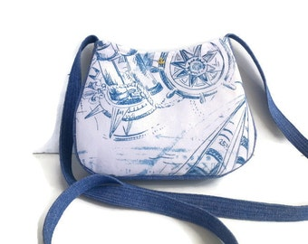 Nautical Purse / Nautical items /small denim bag purse/ Beach Lover Gift / Small Shoulder Bag/made in USA/ Handmade bags, Item # CJF77-1022