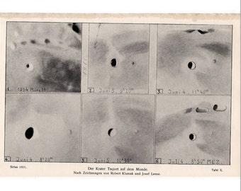 1911 MOON CRATER LITHOGRAPH original antique celestial astronomy lithograph print