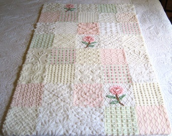 "Soft Whispers Vintage Chenille Baby Quilt - 53"" x 33"" - Boutique quality handmade vintage chenille baby quilt"