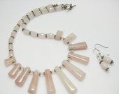 SALE Rose Quartz Necklace Set - Pink Necklace - Pink Earrings - Soft Pink Jewelry - Fashion Jewelry - Womens Jewelry - Jewelry Sets