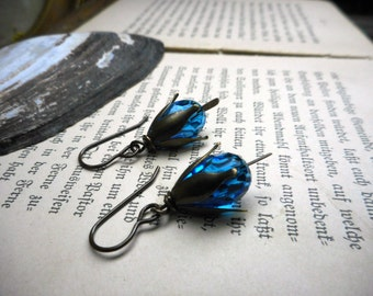 The Little  Washerwoman (Bean Nighe) Earrings. Blue Crystal & Rustic Brass Petal Cap earrings