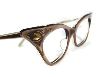 Vintage Winged 50s Cateye Eyeglasses Eyewear Frame NOS