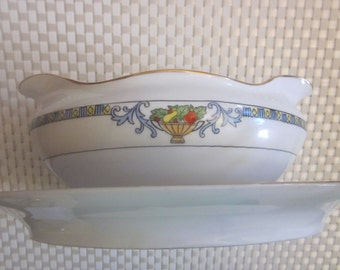CERAMIC GRAVY BOAT and Butter Dish Set Popular vintage Pattern Soap dish????