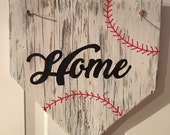 Home Sign - Baseball wooden door sign, wall hanging - Home Plate, great gift for Dad, Mom, coaches etc! Home sweet home