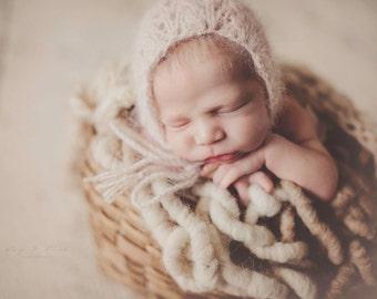 Tan and Cream Ombre Bumpy Bump Blanket Newborn Photography Prop Mat Wool Knit Blanket baby girl boy unisex